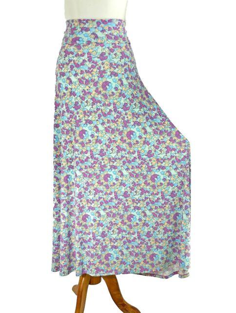 LuLaRoe XL NWT Navy Blue Red Print Maxi Skirt A Line Stretch Knit New W Tags