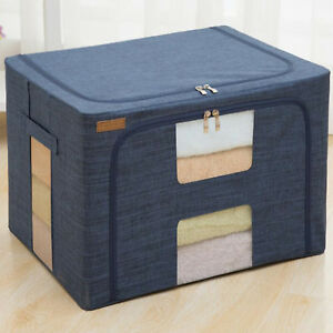 Details about 80L Foldable Fabric Storage Boxes Box Clothes Organiser  Wardrobe Shoe Bedroom
