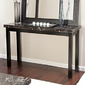Wood Console Table Faux Marble Top Sofa Hall Entry Black Finish