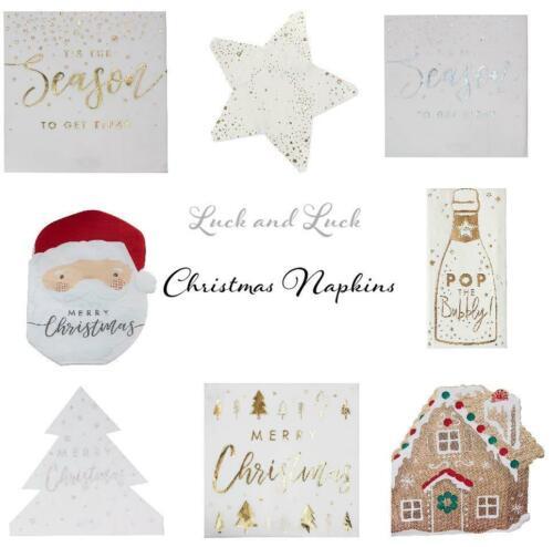 Noël Papier Fête Serviettes x 16 or Argent Père Noël Pain D/'épice Étoile