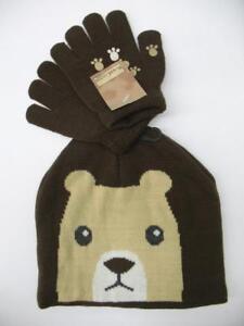 NEW Winter Snow Knit Hat Beanie Cap + Gloves Set Brown Bear Baby Toddler OSFM