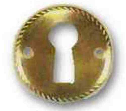 "BRASS PLATED KEYHOLE ESCUTCHEON ROPE EDGE 1/"" DIAMETER E-2BP"