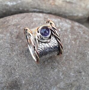 Amethyst-Solid-925-Sterling-Silver-Band-Meditation-Statement-Ring-Size-M419