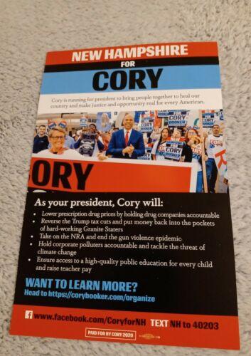 Cory Booker 2020 Presidential Candidate Official NH Campaign Literature//Pamphlet