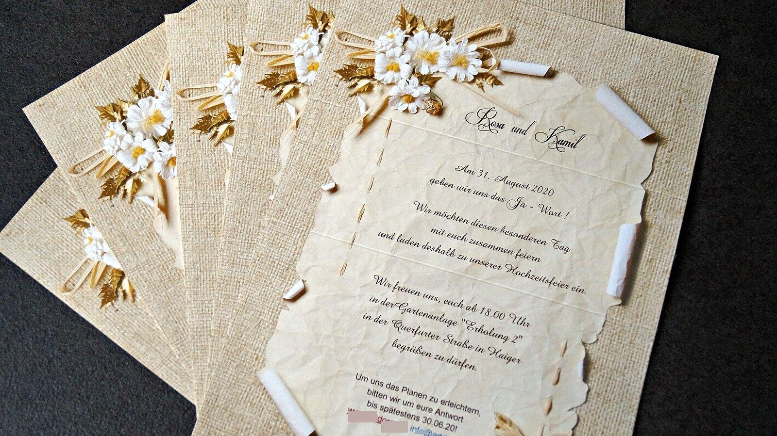 Einladungskarten Hochzeit F732 mit Umschlag  Hochzeitseinladungskarte