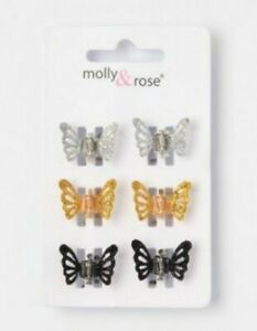 """3 LARGE /""""BUTTERFLY/"""" STYLE CLAMPS 6 HAIR CLIPS 3 SMALL"""