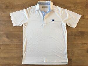 Donald-Ross-Columbia-Golf-Polo-Shirt-White-Blue-Men-039-s-SZ-Small