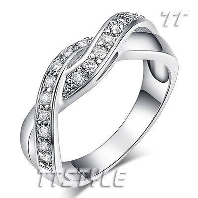 TT 18K White Gold GP Twisted Engagement Wedding Band Ring (RF92)