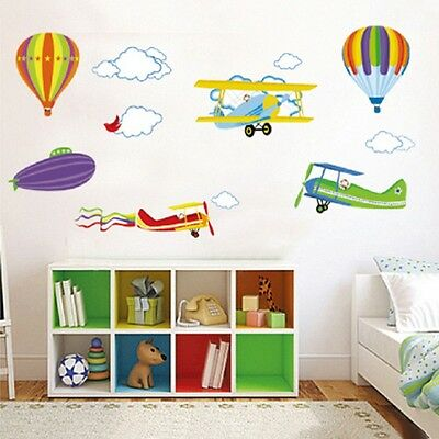 Air Balloon Airplanes Clouds Removable Home Wall Sticker Decoration Decals DIY