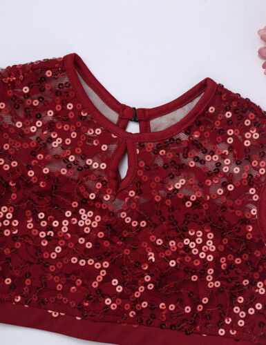 Girls Lyrical Ballet Dance Dress Leotards Gymnastics Costume Crop Skirt Outfit