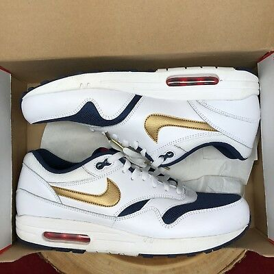 big sale b60cd 0c270 Nike Air Max 1 Essential USA Olympic Size 11.5 537383 127 White Blue Red 95  97