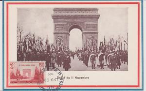 CARTE-MAXIMUM-ARC-DE-TRIOMPHE-OBLITERE-11-NOVEMBRE-1938-YT-408-DEFILE
