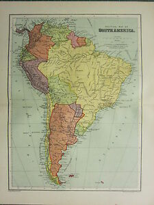 1904 Antique Map South America Political Chile Argentina Brazil
