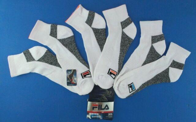 2170622b8b366 Buy FILA Men's Athletic Quarter Crew Socks 3 Pack Large White Neon Blue  Orange Red online | eBay
