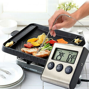 Digital LCD Thermometer Timer for BBQ Grill Meat Kitchen ...