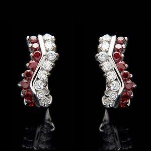 Image Is Loading 1 00ct Created Diamond Red Garnet Earrings 14k