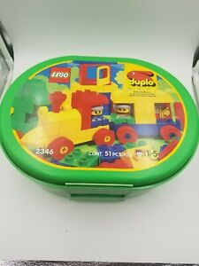 Vintage-Lego-Duplo-Set-w-Carrying-Case-Train-Complete-2346-1996-all-pieces