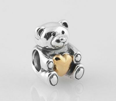 LOVE BEAR 925 Sterling Silver Solid Charm Bead for Bracelet
