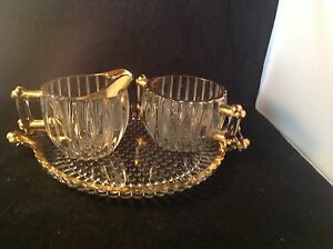 Vintage-Jeannette-Glass-National-Sugar-Creamer-Tray-Crystal-Gold-Accents