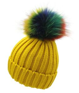 44e549b5317 MUSTARD Women Men Real Fur Pom Pom Bobble Knitted Ski Hat Beanie ...