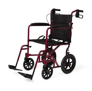 Medline-Lightweight-Transport-Wheelchair-w-Handbrakes-12-inch-Wheels-Red