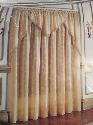New Beaded Ascot Valance Waverly Home Classics Sz 48W*84L Capulet Stripe Gold