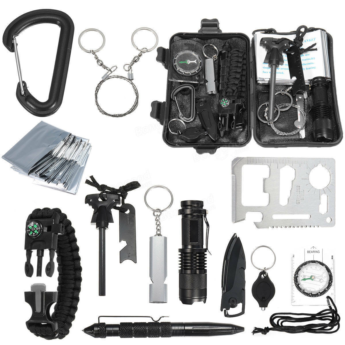 Survival Gear Kits Emergency SOS Survive Tool For Wilderness Trip Hiking Camping