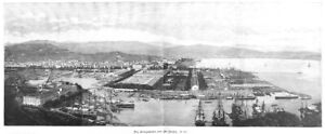 La-Spezia-Italien-Panorama-Ansicha-Original-Holzstich-von-ca-1890