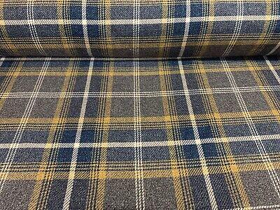 FREE UK P/&P Yellow /& Blue Cotton Blend Tartan Style Check Fabric//Material