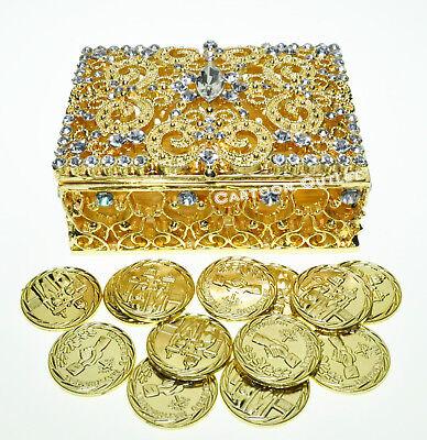 SILVER Encrusted Hearts Rhinestones Chest Shape Arras de Boda//Unity Coins
