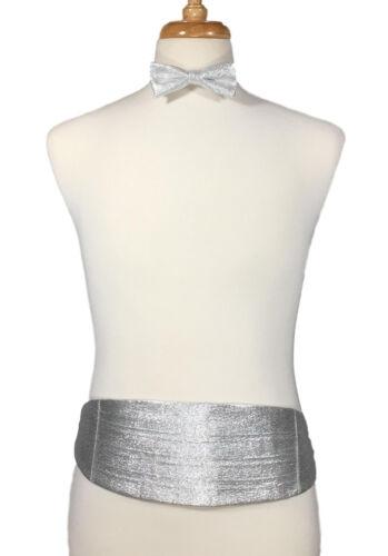 Light Silver Lame Sparkle Glitter Vintage 1980/'s Cummerbund /& Bow Tie Set