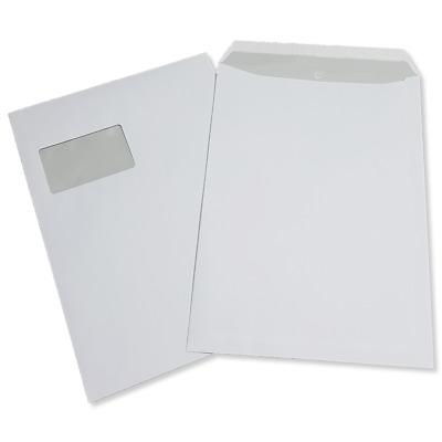 163145E Versandtasche DIN C4  weiß mit Fenster Haftklebend 120g//m²