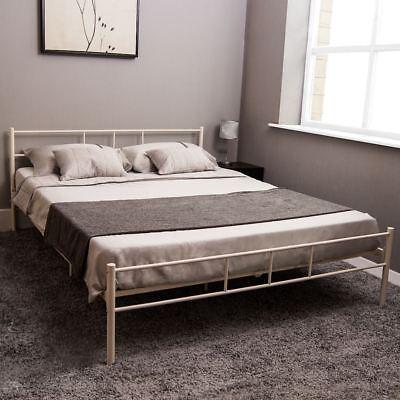 Dorset King Size Bed Metal Steel Frame 5FT Bedroom Furniture Modern White New