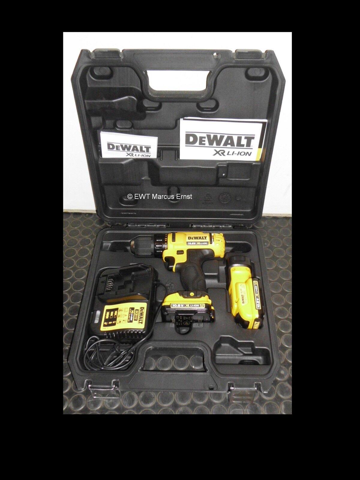 DEWALT Akku Bohrschrauber Set DCD710D2F 10,8V 2x 2.0Ah Akkus mit Lampe  DCD710
