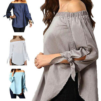 New Women's Large Size Polyester Cotton Off Shoulder Long Sleeve T-Shirt Blouse
