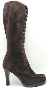 3448a6ebdab Ralph Lauren Brown Leather Suede Lace Up Knee High Fashion Boots ...