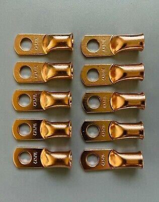 8 Gauge Copper 1//4 Ring 10 PK Crimp Battery Lug Terminal Connector AWG GA CAR Eye CUR814