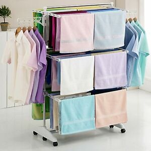 Image is loading Hanger-Drying-Rack-Clothes-Laundry-Folding-Dryer-Indoor-