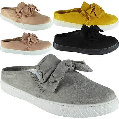 Nuevas Zapatillas para Mujer y Damas Imitación Gamuza Resbalón en Zapatillas De Arco Plano Zapatos De Salón Talla