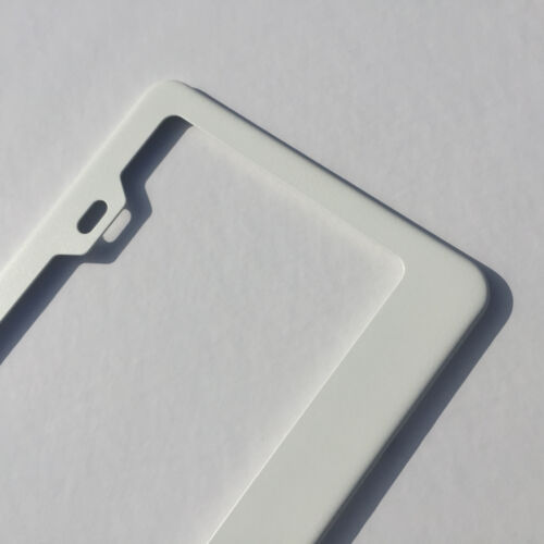 Stainless Steel Powder Coated Flat White License Plate Frame Holder Bracket Tag