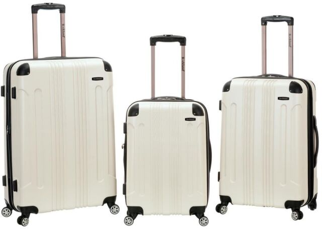 b58ce8ef2 ROCKLAND Luggage Hard-Side Spinner Set, Expandable and Durable, White (3-
