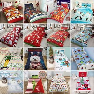 CHRISTMAS DUVET COVER SETS KIDS - ELF SNOWMAN SANTA EMOJI - JUNIOR SINGLE DOUBLE
