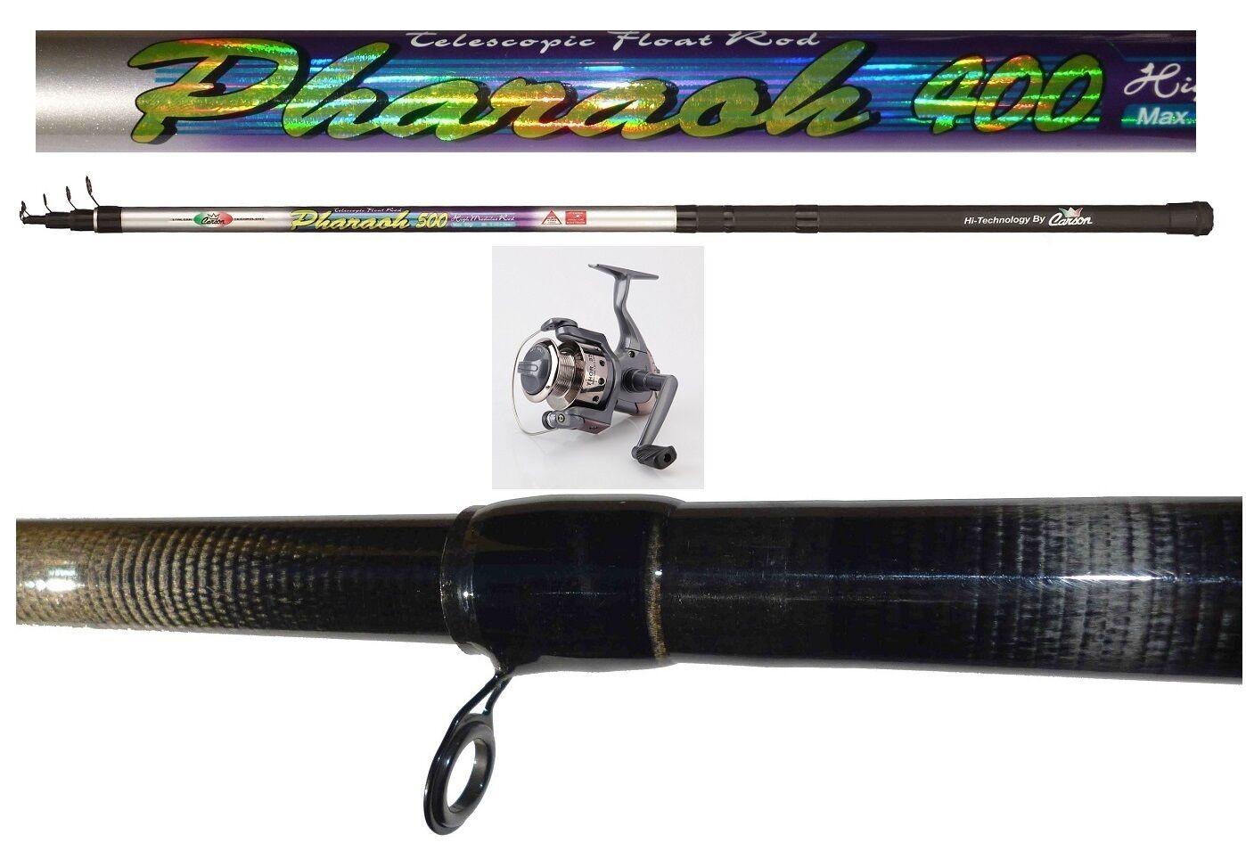 Kit canna pharaoh 4mt + mulinello thor 2000 pesca trota galleggiante carbonio
