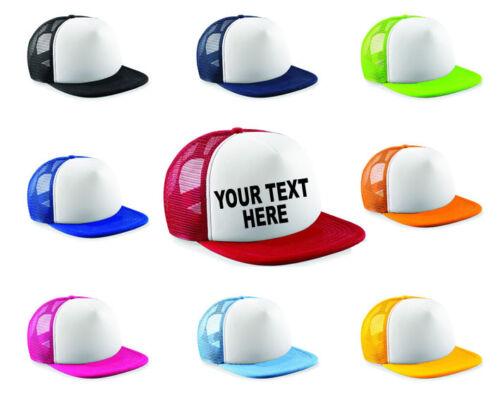 Kids Personalised Printed Half Mesh Baseball Trucker Rapper Cap Hat boys girls