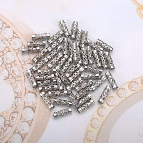 250PCs Stainless Steel Hollow Pattern Straight 3.3mm Hole Spacer Beads 12x4mm