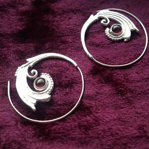 SILVER PLATED HONEYCOMB LARGE SPIRAL EARRINGS BOHO LADIES GIFT IDEAS