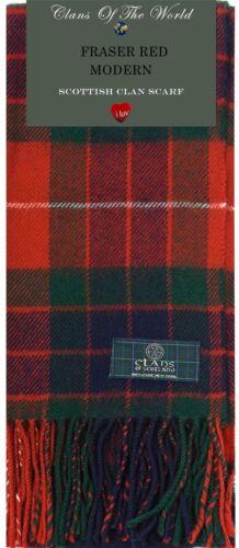 Fraser Red Modern Tartan Clan Scarf 100/% Soft Lambswool