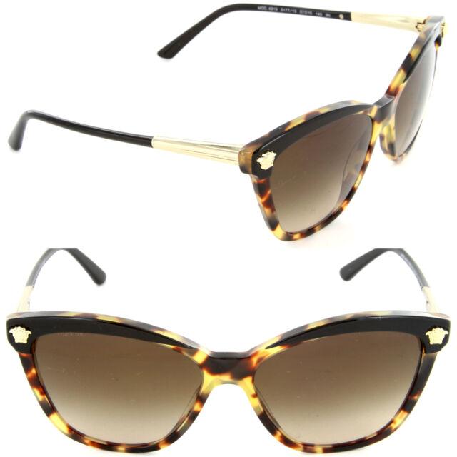 6393cd179047f Versace VE4313 5177 13 Butterfly Sunglasses Black Havana Brown Gradient Lens