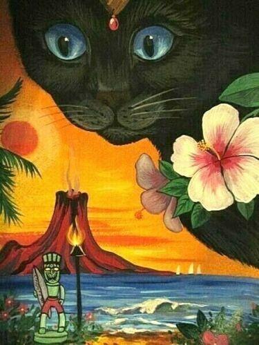1.5x2 DOLLHOUSE MINIATURE PRINT OF PAINTING RYTA 1:12 SCALE BLACK CAT HAWAII ART