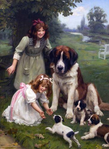 "Saint Bernard Puppies Dog antique decor,14/""x10/"" Art Print Arthur Elsley 1901"